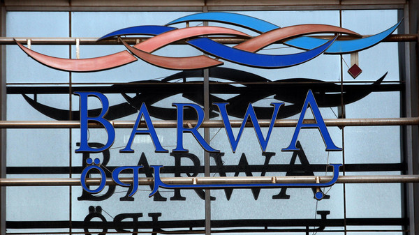 The logo of Barwa Real Estate is seen in Doha